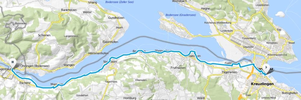 Karte Bodensee-Radweg Etappe 6