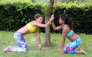Women activewear fun and comfort yellow and aqua bra leggings