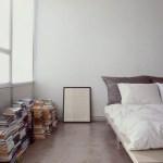 Bedroom with concrete floor