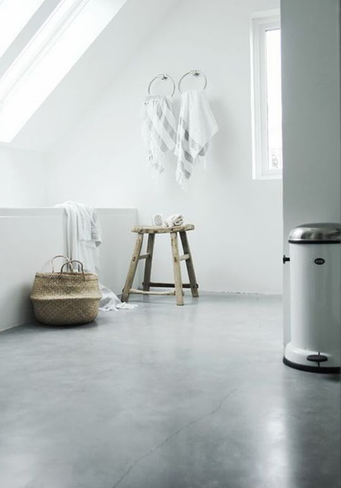 A bathroom with a polished concrete floor for Polished concrete floor bathroom