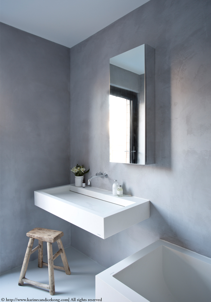 Our Tadelakt bathroom | Renovations. Interior Design Project by Karine Candice Kong