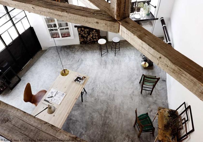 concrete floor in a renovated blacksmith's studio
