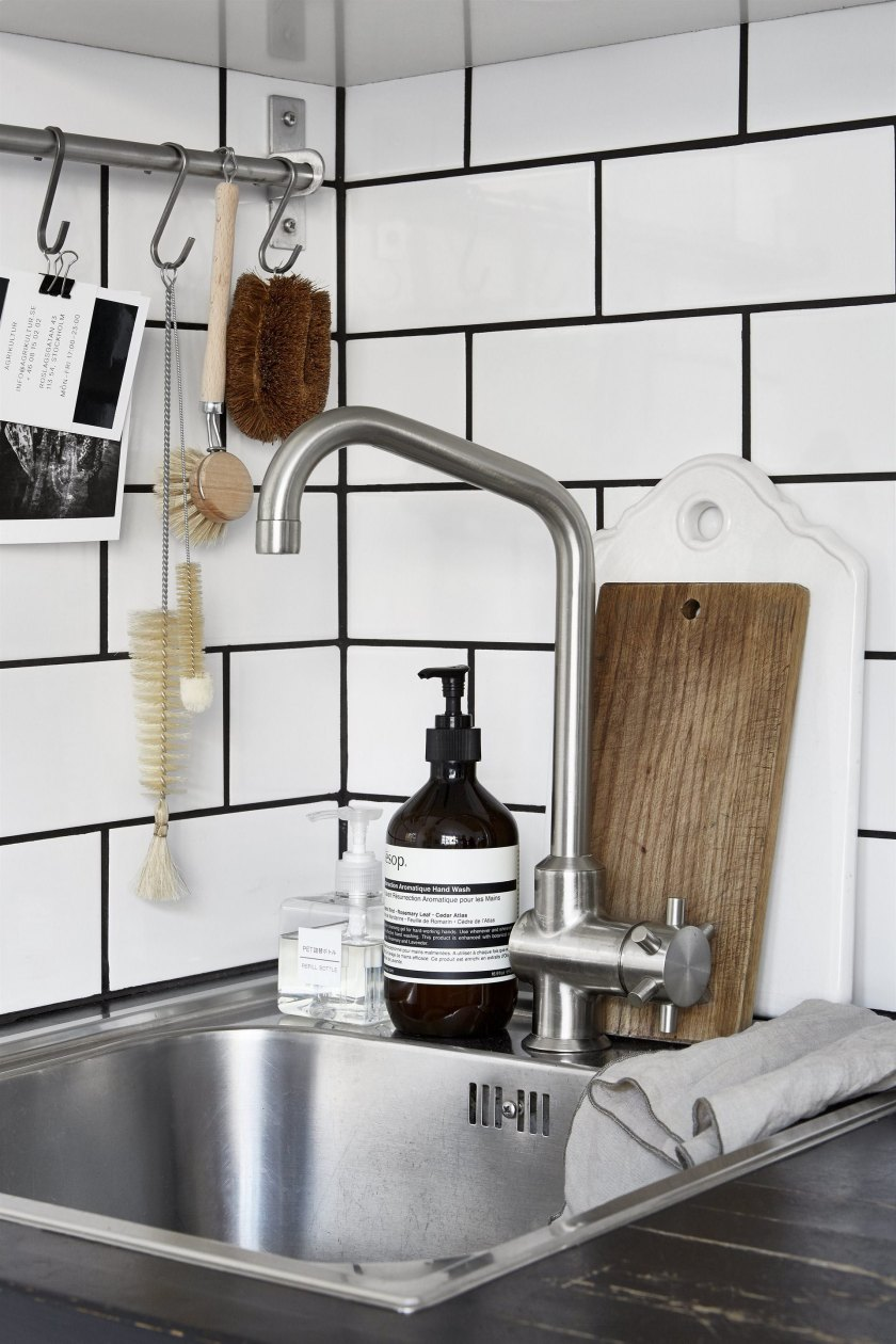 metro tiles kitchen details in a small space