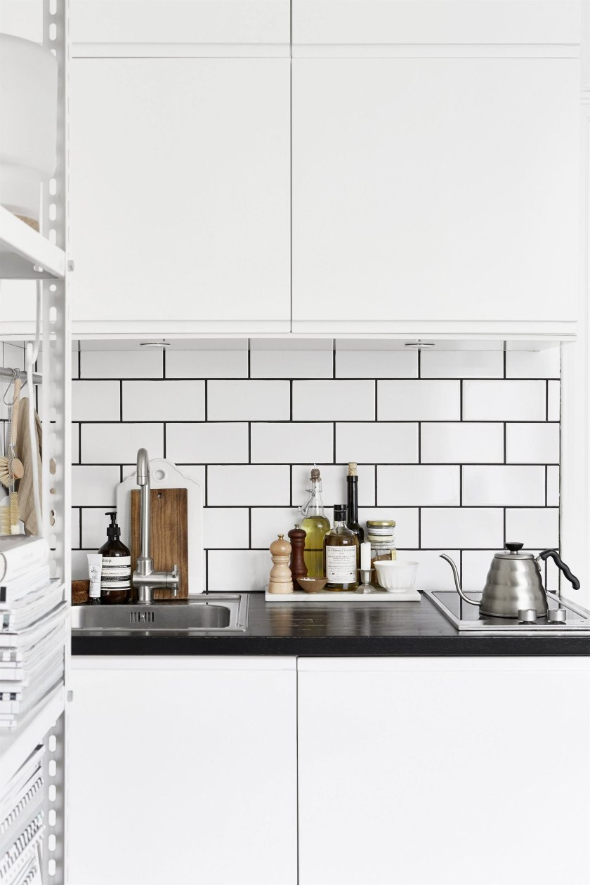metro tiles kitchen in a small space