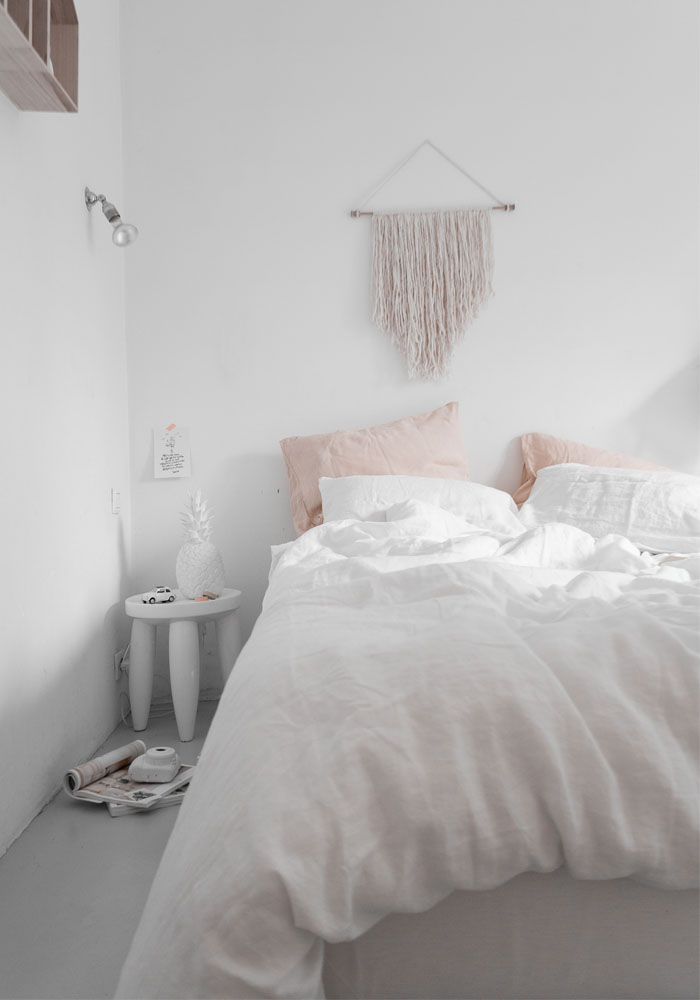 Bedroom makeover in hues of soft pink & white
