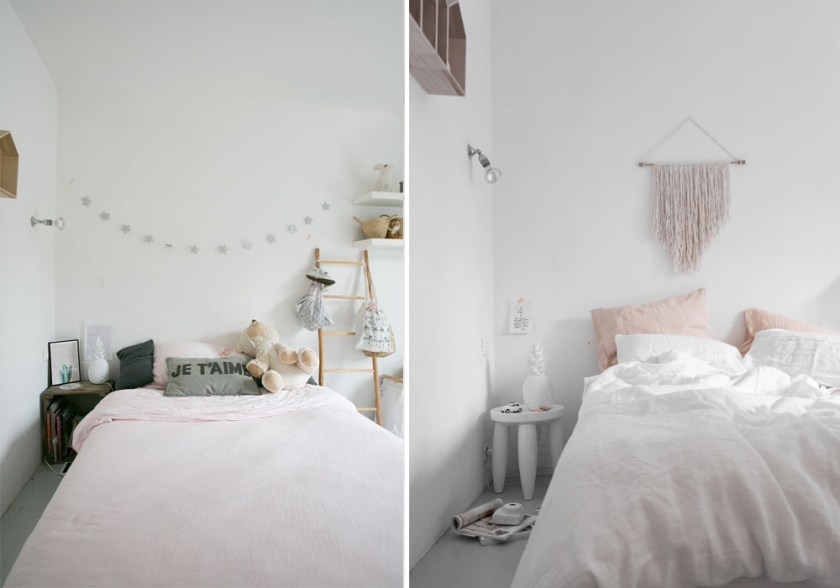 Bedroom makeover in hues of soft pink & white BEFORE & AFTER