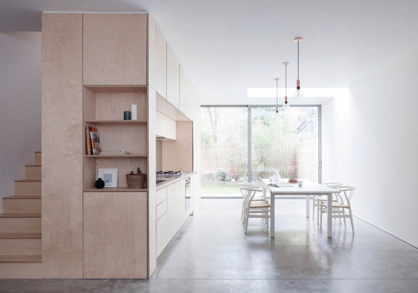 A minimalist home in London built around a plywood kitchen