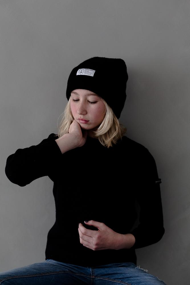 Pea coat, navy knitwear & beanie