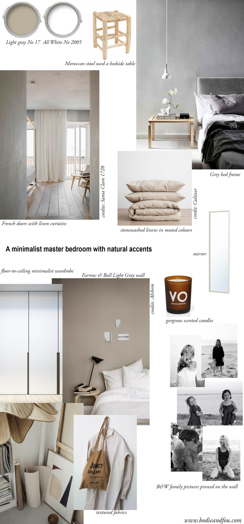 How to add warmth & comfort to a master bedroom: moodboard