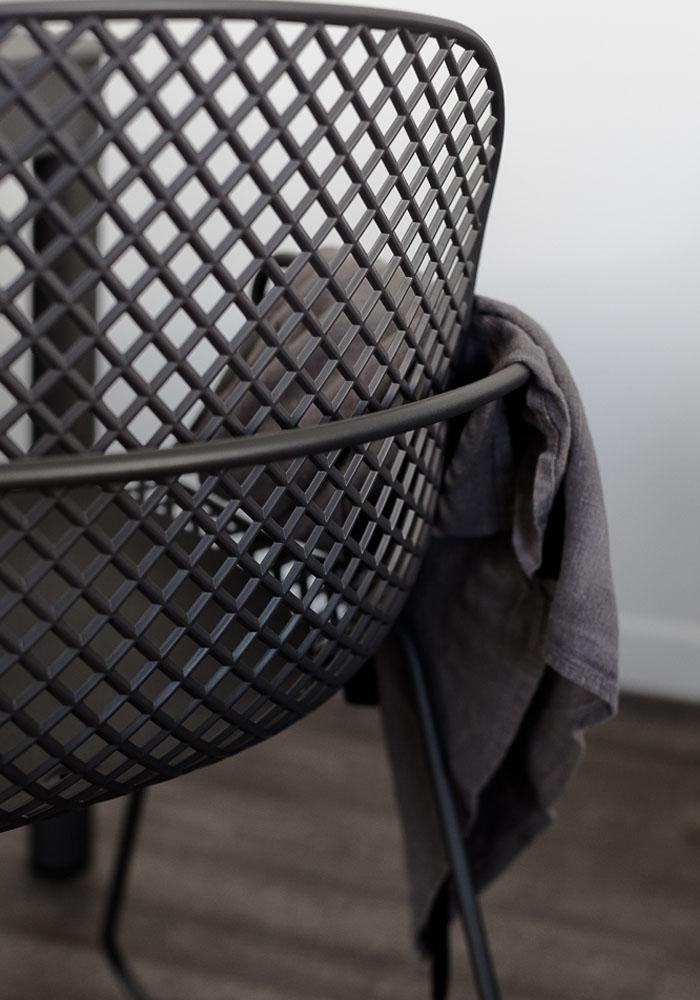 Grey outdoor garden chair by Grosfillex