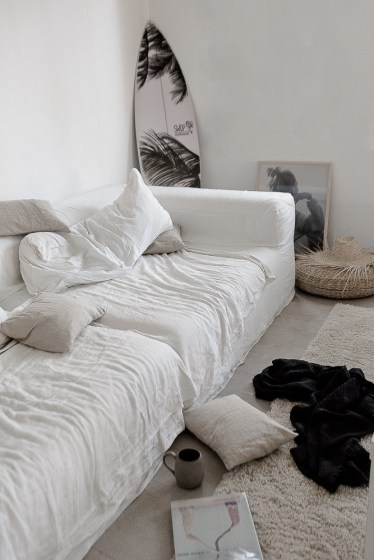 white linen sofa in CASA PYLA