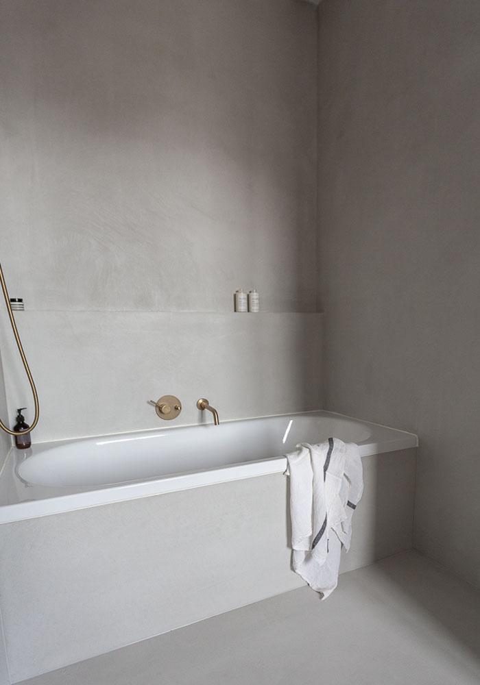 Soft grey, minimalist bathroom in CASA PYLA