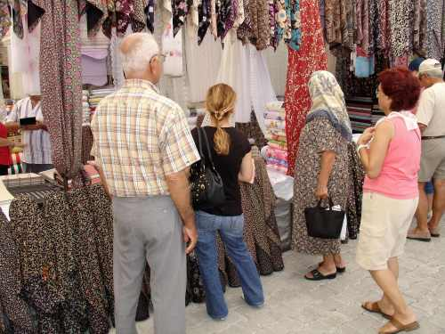 Fabric Stall at Yalikavak Market Bodrum Market Index Page Bodrum Peninsula Shopping Turkey