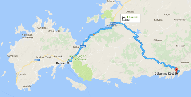 Bodrum to Çökertme route by car