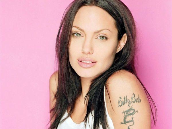 Angelina-jolie with billy-bob-tattoo on arm