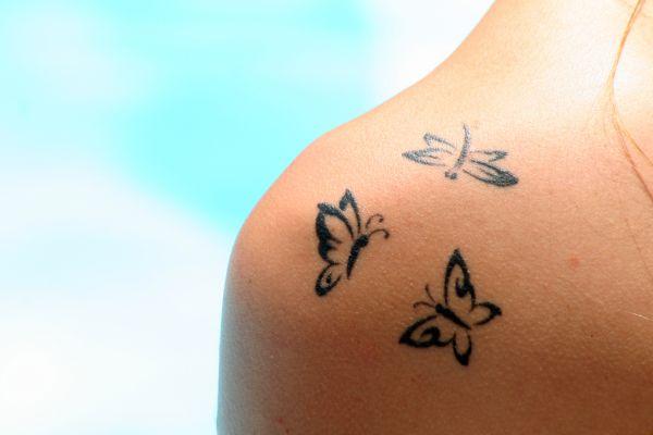 Butterflies on neck