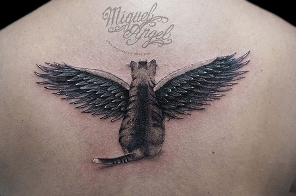 Angel winged cat tattoo
