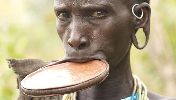 Lip plate is popular in the culture of an African tribe