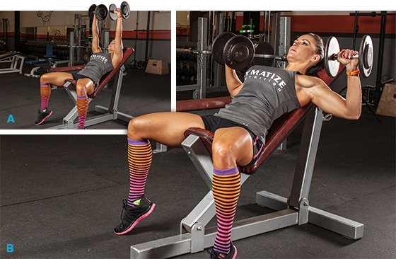Image result for inclined db bench press women