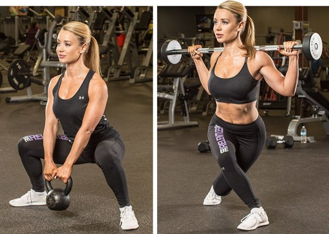 Sumo squats and curtsy lunge