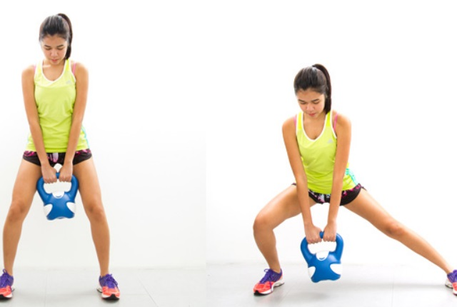 Side Lunges Using Kettlebell