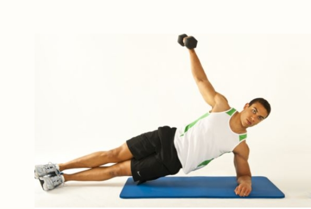 Side Planks With Dumbbells