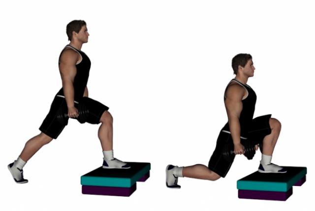 Elevated Front Foot Lunges