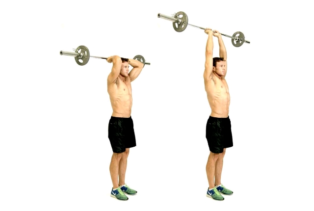 Standing Overhead Barbell Triceps Extension