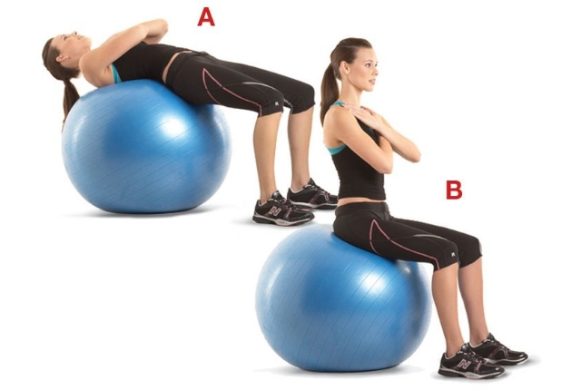 Stability Ball Walk-up Crunches: