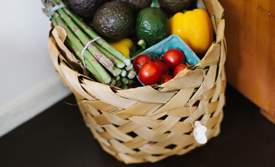 Basket of fresh organic fruits and veggies
