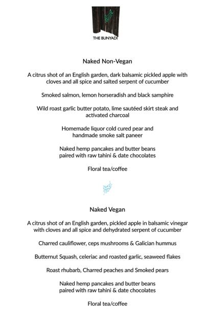 Bunyadi vegan and non-vegan menu sample