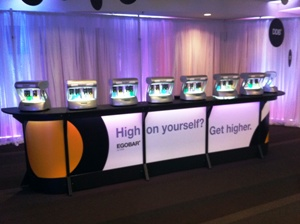 Large 16-seat oxygen bar with sponsor branding