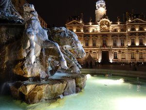 Statue and Fountain in the Terreaux in Lyon