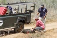 Reifenpanne im Mkhaya Nature Reserve