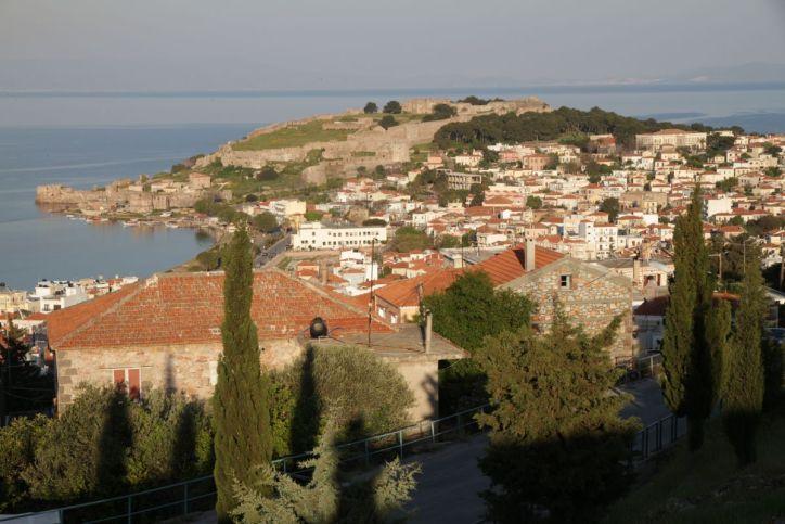 Blick auf Mytilini und Burg