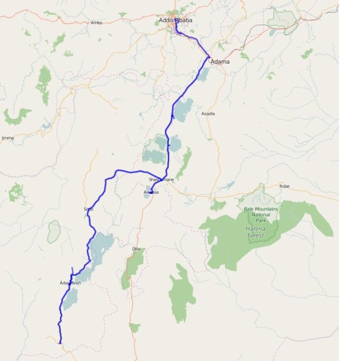 Gesamtreiseroute Äthiopien (Süden)
