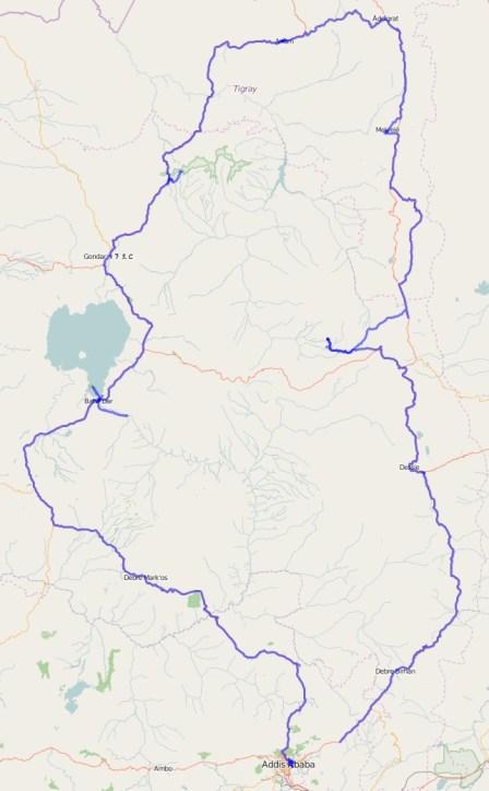Gesamtreiseroute Äthiopien (Norden)
