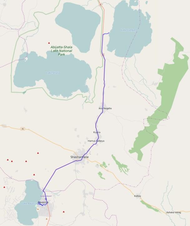 Reiseroute Äthiopien 26.01.2016