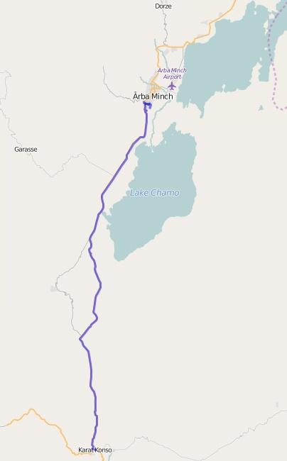 Reiseroute Äthiopien 02.02.2016