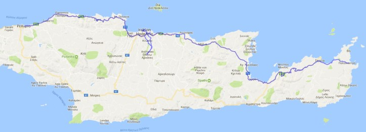 Reiseroute Kreta 26.04.2017