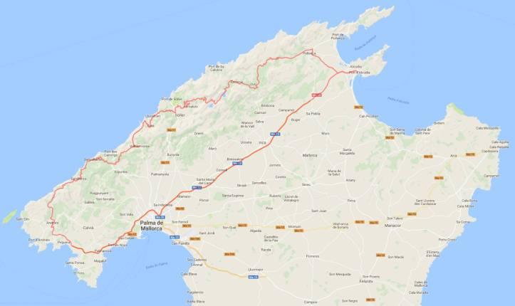 Reiseroute Mallorca 12.2.2018