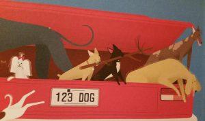 prentenboek honden in de auto