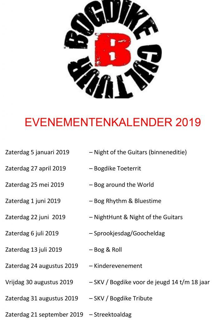 Bogdike evenementen in 2019