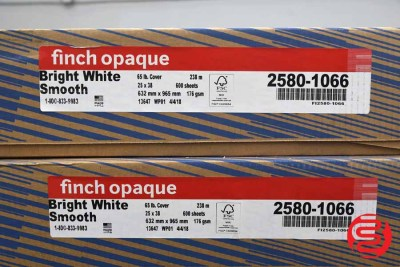 Finch Opaque Bright White Smooth 25 x 38 65 lb Cover Paper - 3 Cases - 060320024720