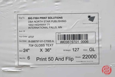 White 70lb. 24x36 Gloss Text Paper (66,000 Sheets) - 072821101130