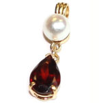 Garnet and Pearl (3.3 total wt.) pendant, 14kt. yellow gold. (Chain not included.) $270