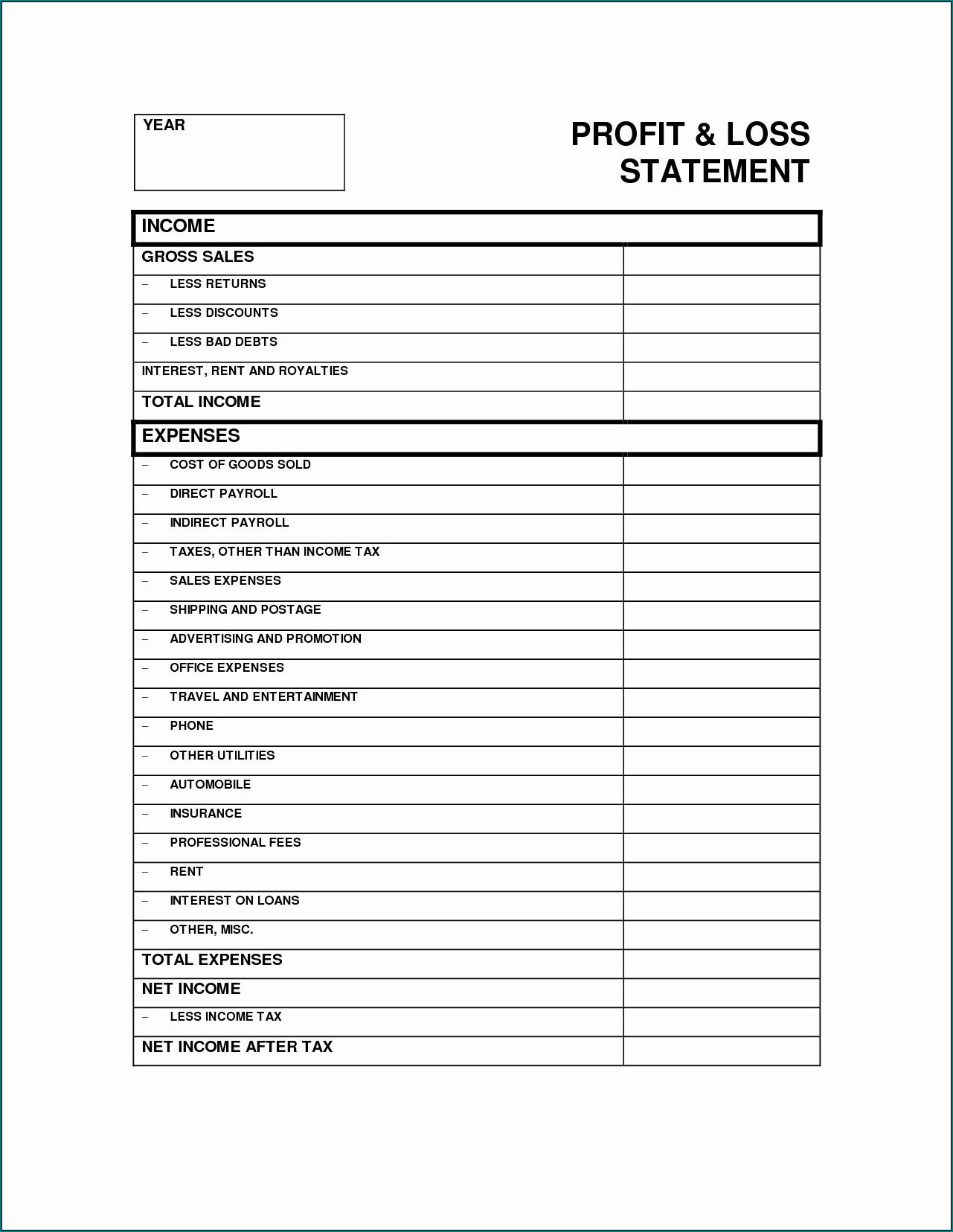Free Printable Profit And Loss Template