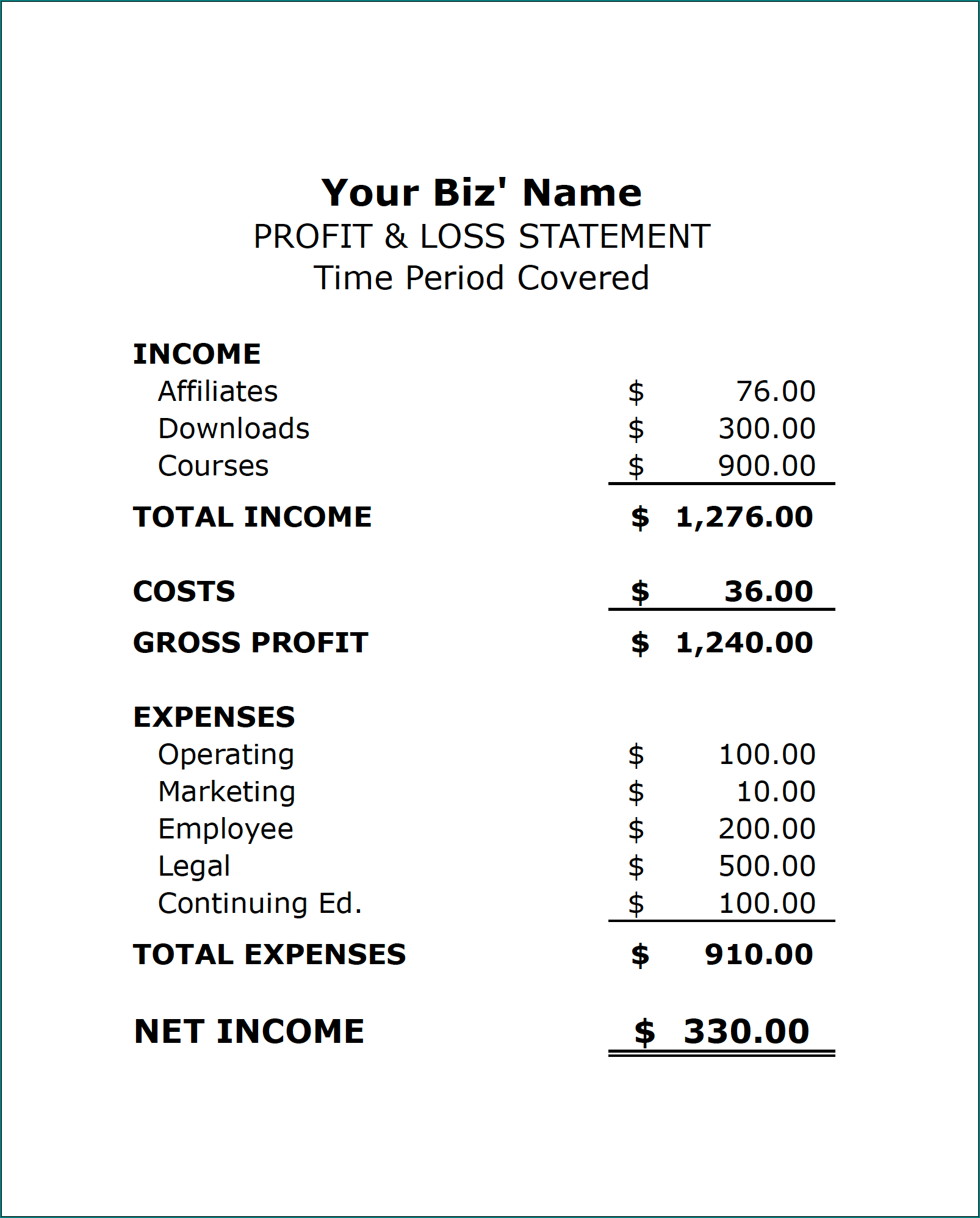 Free Printable Simple Profit And Loss Template