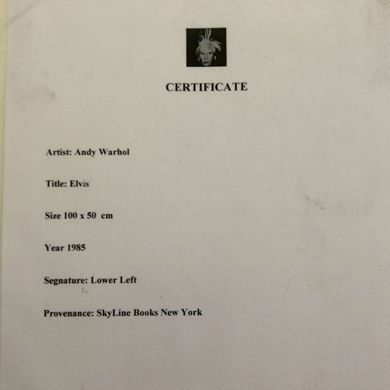 Andy Warhol Elvis certificato