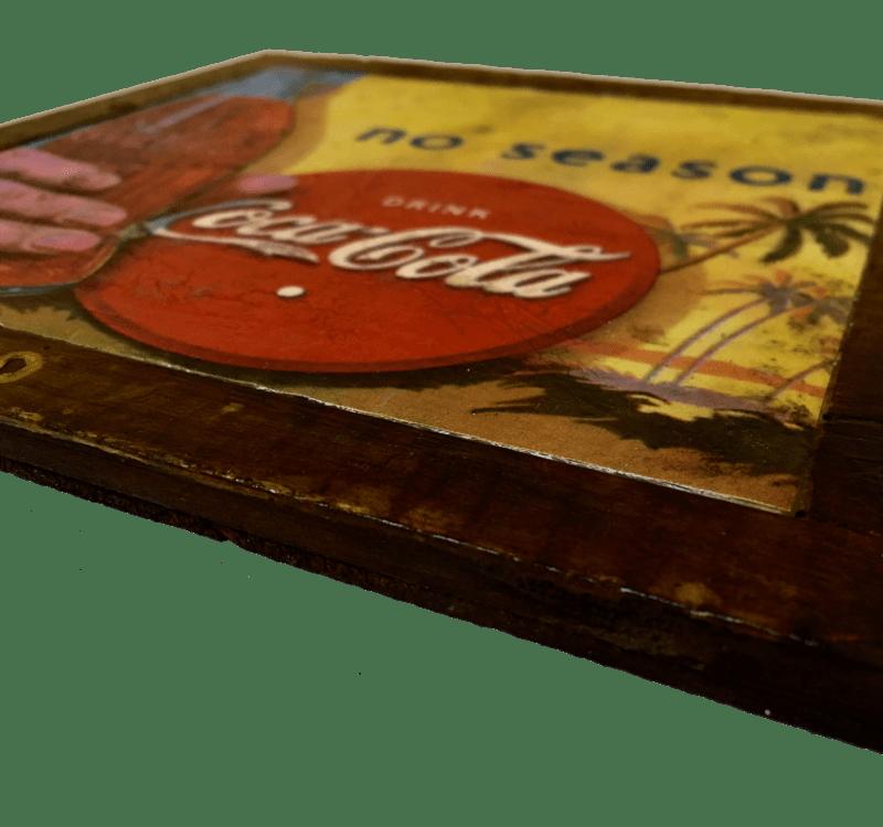 Quadretto Coca Cola No Season in legno